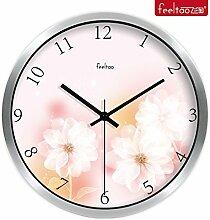 BABYQUEEN 10 Zoll Stilvolle home Wohnzimmer ruhigen, eleganten Blüten Garten Schlafzimmer Wohnzimmer Quarzuhr dekorieren Silber