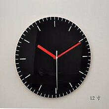 BABYQUEEN 12 Zoll Acryl Wanduhr Moderne Minimalistische Uhren Uhr Im Skandinavischen Stil Stummschaltung Schwarz