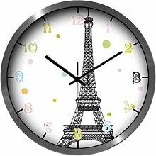 BABYQUEEN 12 Zoll Frankreich Eiffelturm Wanduhr Wohnzimmer Schlafzimmer Einfache Moderne Stumm Dekoration Uhr Silber