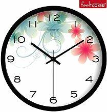 BABYQUEEN 12 Zoll Garten europäischen Wanduhr Wohnzimmer Dekoration Clock Mode kreativ Stummschaltung Schwarz