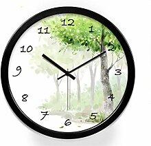 BABYQUEEN 12 Zoll Garten Kleiner Baum Stumm Wanduhr Schlafzimmer Minimalistischen Kreativen Dekoration Wohnzimmer Uhr schwarz
