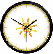 BABYQUEEN 12 Zoll Kinderzimmer Cartoon Sun Wanduhr Schallgedämpfte Motor Home Decoration Metall Elektronische Uhren Quarz Schwarz