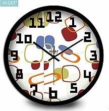 BABYQUEEN 12 Zoll Kreative Persönlichkeit Wanduhr einfache runde Wohnzimmer Schlafzimmer mute elektronische Dekoration Uhr Schwarz