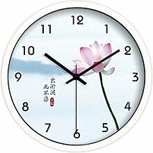 BABYQUEEN 12 Zoll Kreative Wanduhr Wunderschöne Lotus Mute Das Wohnzimmer Quarzuhr Dekoration Uhr Weiß