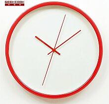 BABYQUEEN 12 Zoll metall Wanduhr minimalist runde Dekoration mute Wecker Ro