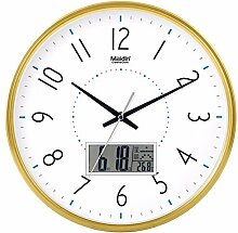 BABYQUEEN 12 Zoll Mode Wanduhr Büro Die Wohnzimmer Einfache Stille Uhr Kreative Quartz Ewiger Kalender Dekoration Uhr