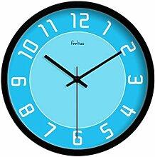 BABYQUEEN 12 Zoll Modernen Minimalistischen Kunst Wanduhr Wohnzimmer Runde Persönlichkeit Kreative Dekoration Uhr Schwarz