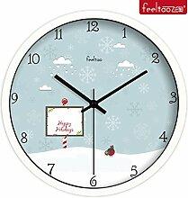 BABYQUEEN 12 Zoll Quarz Wanduhr cute cartoon Kinder Schlafzimmer mute Dekoration Uhr Weiß