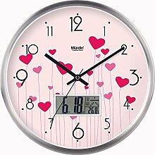 BABYQUEEN 12 Zoll Wanduhr garten Lebende kunst kreativ Uhr mute Mode glück Quarzuhr Kalender Edition Silber