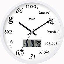 BABYQUEEN 12 Zoll Wanduhr Wohnzimmer kreative Kunst Quarzuhr mute digitale Konzept Dekoration Uhren Kalender Edition Weiß