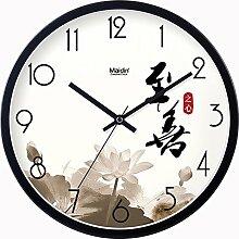 BABYQUEEN 14 Zoll Chinesische Wind Garten Einfach Wanduhr Wohnzimmer Schlafzimmer Mute Mode Kreativer Kunst Uhr Allgemeine Ausgabe Schwarz