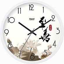 BABYQUEEN 14 Zoll Chinesische Wind Garten Einfach Wanduhr Wohnzimmer Schlafzimmer Mute Mode Kreativer Kunst Uhr Allgemeine Ausgabe Weiß