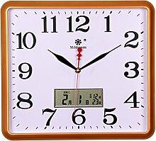 BABYQUEEN 14 Zoll Eckig Moderne Quartz Wanduhr kalender Stumm For Wohnzimmer Schlafzimmer Uhr chinesischen Stil Design Golden