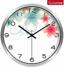 BABYQUEEN 14 Zoll Garten europäischen Wanduhr Wohnzimmer Dekoration Clock Mode kreativ Stummschaltung Silber