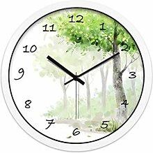BABYQUEEN 14 Zoll Garten Kleiner Baum Stumm Wanduhr Schlafzimmer Minimalistischen Kreativen Dekoration Wohnzimmer Uhr weiß