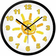 BABYQUEEN 14 Zoll Kinderzimmer Wanduhr Schönes Cartoon Mute Gelbe Sonne Quarz Uhren Schwarz