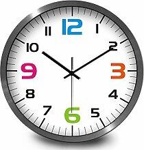 BABYQUEEN 14 Zoll Minimalistischen Uhr Metall Mute Wanduhren Klassenzimmer Büro Dekoration Wanduhr Silber