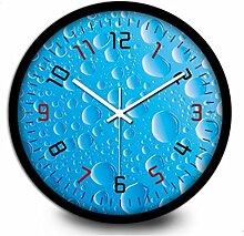 BABYQUEEN 14 Zoll Mode Wanduhr Wassertropfen Serie Ocean Blue Bubbles Startseite Büro Dekoration Mute Uhr Schwarz