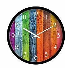 BABYQUEEN 14 Zoll Runde Wanduhr In Mediterranen Farben Modernes Wohnzimmer Kreative Mute Quarzuhr Schwarz
