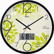 BABYQUEEN 14 Zoll Wanduhr garten Lebende kunst kreativ Uhr mute Mode glück Quarzuhr Kalender Edition Schwarz