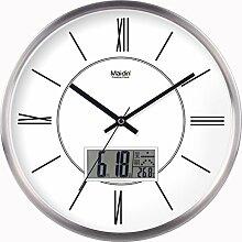 BABYQUEEN 14 Zoll Wanduhr Wohnzimmer Mode mute Europäischen kreativen Metall Schlafzimmer Wohnzimmer Dekoration Uhr Kalender Edition Silber