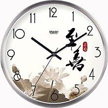 BABYQUEEN 16 Zoll Chinesische Wind Garten Einfach Wanduhr Wohnzimmer Schlafzimmer Mute Mode Kreativer Kunst Uhr Allgemeine Edition Silber
