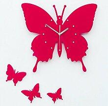 BABYQUEEN 16 Zoll Einfache Kreative Pastorale Wanduhr Wohnzimmer Schlafzimmer Mute Mode Kunst Quartz Schmetterling Wanduhr Cherry Red