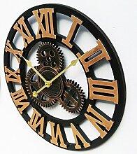 BABYQUEEN 18 Zoll Retro Industrial Wind Gang Wanduhr Wohnzimmer Schlafzimmer Mute Mode Kreativer Kunst Uhr Gold