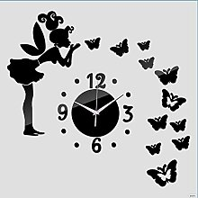 BABYQUEEN 3D DIY Wanduhr Modern Butterfly Fairy Wandaufklebern Mirro Schwarz