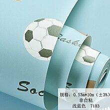 BABYQUEEN Cartoon Spaß grünes Vlies Tapete junge Schlafzimmer blau Fußball Hellblau