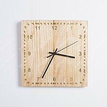 BABYQUEEN Chinesische Kreative Wanduhr Mit Einfachen Und Modernen Jugendstil Idyllische Massivholz Rundschreiben Wohnzimmer Schlafzimmer Mute Uhren D