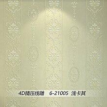 BABYQUEEN Continental minimalistischen vertikale Streifen Tapete Prägung Vliestuch Schlafzimmer Wohnzimmer Wand Papier Hintergrund Light Khaki