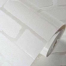 BABYQUEEN Das Mittelmeer 3D Simulation Ziegelstein Wandaufkleber Schlafzimmer Wohnzimmer Hotel Vliestuch Selbstklebende Tapete Weiß 0.53*5m