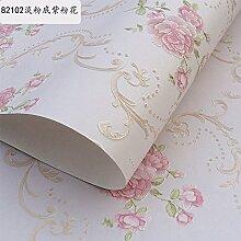 BABYQUEEN Die 1 Schlafzimmer Garten Vliestapeten Wohnzimmer Wand Papier Hintergrund Continental romantische Hochzeit Zimmer geprägte Tapeten Hellrosa unten Lila Pulver Blume