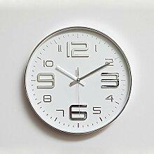 BABYQUEEN Die Im Nordischen Stil Wanduhr Modern Und Stilvoll Ultraleise Metallbogendruck Rund Um Die Uhr Schlafzimmer Silber