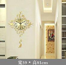 BABYQUEEN Einem modernen minimalistischen Stil kreative Wanduhr Wohnzimmer Schlafzimmer Bügeleisen Art Decor mute Uhr Gold