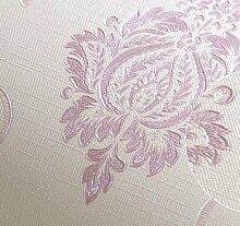 BABYQUEEN Einfaches Kontinentales Damaskus Tapete Embossing Wohnzimmer Tapete Schlafzimmer Gang Restaurant Tapete Violett 0.53*10m