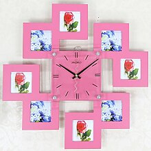 BABYQUEEN Europäische Kreative Stille Bilderrahmen Wanduhr Schlafzimmer Wohnzimmer Einfache Persönlichkeit Kunst Dekorative Uhr Rosa