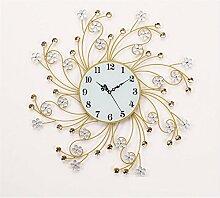 BABYQUEEN Europäischen Klassische Stil Wanduhr Silberne Blume Crystal Bohrer Modernes Wohnzimmer Schlafzimmer Kreative Schmiedeeisen Dekoration Uhr