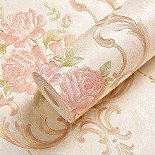 BABYQUEEN Im Europäischen Stil Garten Wand Papier Einladende Zimmer Vlies Tapete Wohnzimmer Restaurant Tv-Hintergrundbild Arice Gelb 0.53*10m