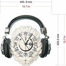 BABYQUEEN Kreative 3D Moderne Wanduhr Sticker Stereo Stumm Wohnzimmer Musik Kopfhörer Wandtattoo Dekoration Uhr