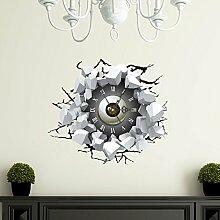 BABYQUEEN Kreative 3D Wanduhr Sticker Wohnzimmer Schlafzimmer Uhr Kunst Stumm Loch Wand Wandtattoo Dekoration Uhr