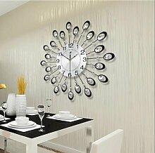 BABYQUEEN Kreative Continental Wohnzimmer Wanduhr Moderne Schlafzimmer Mute Quarzuhr Schwarz