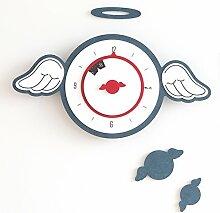 BABYQUEEN Kreative Die Flügel Der Engel Wanduhr Europäischen Stil Künstlerische Persönlichkeit Cartoon Kinder Dekoration Uhr Blau