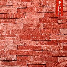 BABYQUEEN Modernes Chinesisch 3D Brick Tapete Persönlichkeit Restaurant und Bar Retro Tapete chinesische rote Backstein