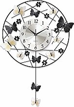 BABYQUEEN Modernes minimalistisches kreative Wanduhr Schlafzimmer Wohnzimmer mute Rundschreiben Schmetterling Eisen Kunst dekorative Uhren