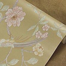 BABYQUEEN Neue Chinesische Vogel Und Blume Garten Vlies Tapete Im Amerikanischen Stil Wohnzimmer Schlafzimmer Hyun Tv Ausschalten Wand Papier Hintergrund Gelb 0.53*10m