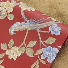 BABYQUEEN Neue Chinesische Vogel Und Blume Garten Vlies Tapete Im Amerikanischen Stil Wohnzimmer Schlafzimmer Hyun Tv Ausschalten Wand Papier Hintergrund Rot 0.53*10m