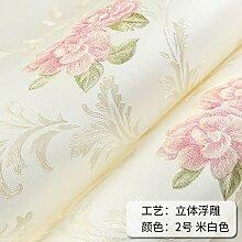 BABYQUEEN Pastorale dreidimensionale romantische kleine Blumen Vlies Tapete warmen Wohnzimmer Schlafzimmer TV Hintergrundbild Weißer Reis