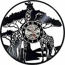 BABYQUEEN Retro creative 3d Cartoon giraffe Wanduhr Schallplatten Indoor Dekorationen klassische Handarbeit Kunst Uhr